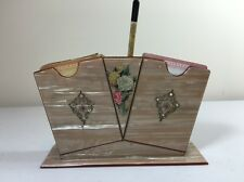 Vintage Playing Card 2 Deck Holder Floral Accents Luster Look Original Pencil
