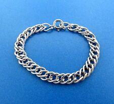 Sterling Silver Double Loop Starter Charm Bracelet 8mm 7 Inch