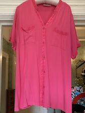 ANNE HARVEY CANDY PINK SHORT Sleeve Blouse Size 18