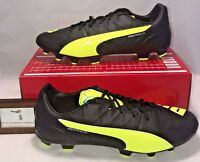 Puma Mens Size 11.5 Evospeed 3.4 Leather Fg Soccer Cleats Safety Yellow Black