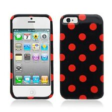 For iPhone 5 5S SE HARD Protector Case Snap On Phone Cover Black Red Polka Dots