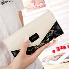 Womens Ladies Floral Envelope Clutch Purses Leather Long Handbag Bag Card Wallet