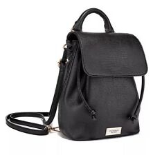 Victoria's Secret Mini Backpack Drawstring Bag Black Lizard Faux Leather