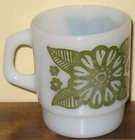 Anchor Hocking Fire King Green Flowers Coffee Mug Daisies Vintage