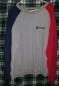 VTG Tommy Hilfiger Men's Gray Sweater Color Block - Navy & Red Sleeve - Size XXL