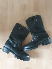 Chippewa Black Biker Heavy Duty Cowboy Leather Boots US8D