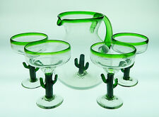 Mexican Margarita Glass Party set, saguaro pitcher and margarita glasses (4)