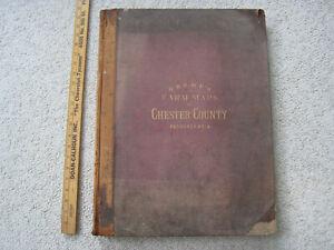 Rare Vintage 1883 Breou's Farm Maps of Chester County, Pennsylvania Atlas
