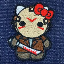"""HELLO KITTY AS JASON FRIDAY THE 13TH EMBROIDERED IRON ON PATCH 2.5""""X3"""" FREE SHIP"""