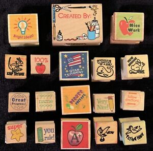 Lot of 18 Pre-Owned Rubber Stamps for Public, Private, or Homeschool Teachers