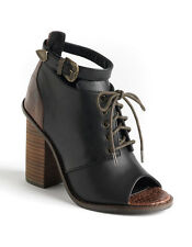 $194 NEW Kelsi Dagger Bina Black Brown Leather Booties sz 8 High Heels