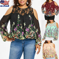 Plus Size Women's T-Shirt Blouse Tops Cold Shoulder Floral Flower Long Sleeve US