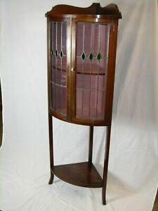 Edwardian Mahogany Sheraton style Bow front Art Nouveau glazed Corner Showcase