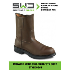 """REDWING 8264 9"""" Pull-On Brown Leather Steel Toe Safety Boot - NEW!!"""