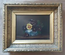 19th C Antique Floral Stll Life Oil Gold Frame Old Flowers Pansies