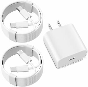 Wall Charger Block with 2 Pack 6.6ft USB C to USB C Charging Cable