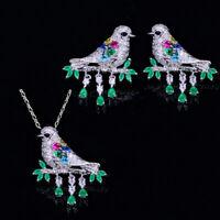CWWZircons Halskette Ohrringe Schmuck Set Wassertropfen Grün CZ Tier Vogel Sets