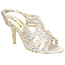 Womens Ladies Satin Diamante Slingback Bridal Wedding Party Sandals Fs-8816 Ivory UK 7