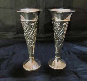 Pair of Sterling Silver Vases Birmingham 1900- Walker & Hall 14 cm