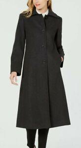 Jones New York Single-Breasted Charcoal Maxi Coat  Size 10p JW8PW520 new