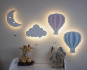 Wooden Night Lights Moon Cloud Balloon Wall Lamps Baby Kids Bedroom Nursery Lamp