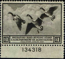 """RW#3 PLATE NUMBER 1936 $1 """"CANADA GEESE IN FLIGHT""""DUCK STAMP USED-LITE SIGNATURE"""