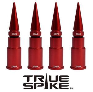 4 TRUE SPIKE RED SPIKED WHEEL RIM AIR VALVE STEM COVER CAP FOR CHEVY SILVERADO B