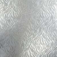 Animal Tiger Zebra pattern Glassbeads textured silver foil Metallic Wallpaper 3D