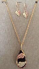 "Black Hills Gold Black Onyx Coleman 18"" pendant set dangle 10k Qvc Retail $480"