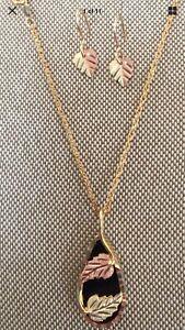 "Black Hills Gold Black Onyx Coleman 18"" pendant set dangle 10k  QVC Retail $$480"