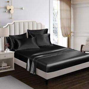 AiMay 6 Piece Satin Bed Sheet Pillowcase Set Deep Pocket Super Soft Luxury Rich
