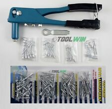 140 pc Pop Riveter Gun Set Blind Rivet Hand Tool Kit Gutter Repair Heavy Duty