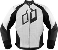 ICON HYPERSPORT Leather Motorcycle Riding Jacket (White) S (Small)