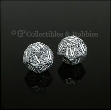 NEW 2 Roman Numeral D4 12 Sided RPG Dice Granite Gray Speckled Game Die Chessex