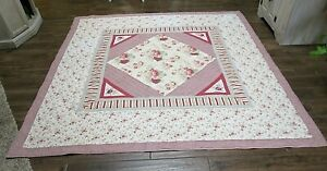 """Vintage Red Checkered Floral Cotton Patchwork Quilt  88"""" x 84"""""""