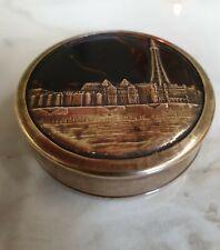 antique small round brass blackpool scene trinket box