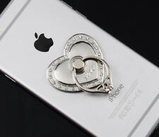 360 Rotating Finger Ring Stand Holder For Cell Phone Tablet SILVER HEART OF LOVE