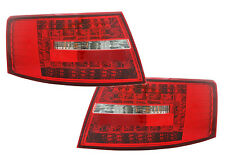 Back Rear Tail Lights Lamps For Audi A6 Saloon 04-08 Red-Clear LED Pair 6