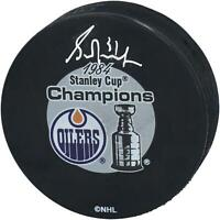 Grant Fuhr Edmonton Oilers Signed 1984 Stanley Cup Champions Logo Hockey Puck