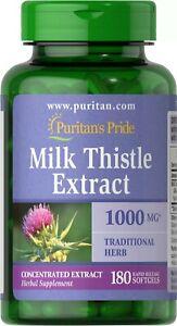 Puritan's Pride Milk Thistle 1000 mg 4:1 Extract Silymarin 180 Softgels