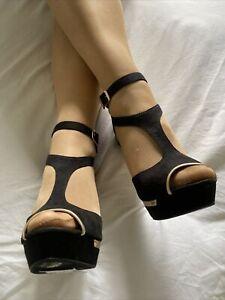 New Look Black Suedette T Bar Platform Stiletto Size 6 EUR 39