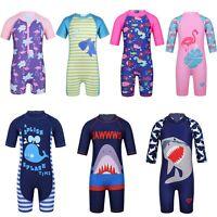 Toddler Baby Boy Girl Rash Guard Swimsuit Sun Protective Surf Beach Swimwear Cap