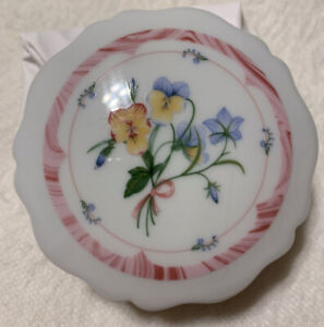 Crowning Touch Powder Dish/ Trinket Box Floral  Pattern  Made In Japan