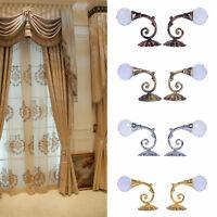 2x Large Metal Crystal Glass Curtain Holdback Wall Tie Back Hooks Hanger Holder
