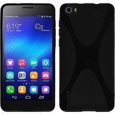 Funda de silicona Huawei Honor 6 X-Style - negro + protector de pantalla