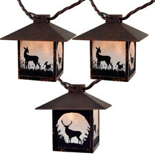 Deer Theme Lantern String Lights Lodge Decorative Rustic Frosted Pane Silhouette