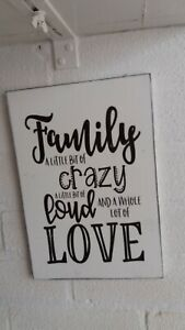 Family a little bit of crazy wooden shabby & chic sign plaque