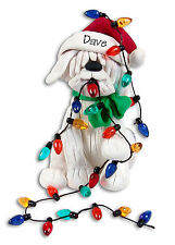 CHRISTMAS PUPPY DOG  w/Lights Personalized Ornament  Polymer Clay by Deb & Co.