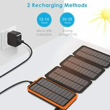 PEALIKER Solar Power Bank 25000mAh Portable Solar Charger with Dual USB 2.1A