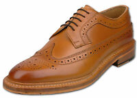 Mens Tan Lace Up Full Leather American Style Brogue Fashion Shoes UK Size 8